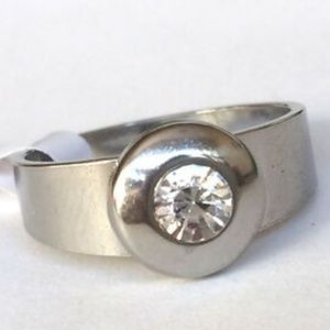Silver Stainless Steel CZ Ring Size 6 7 9 10 11